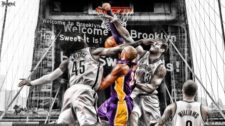 Kobe Bryant dunks on Brooklyn Nets